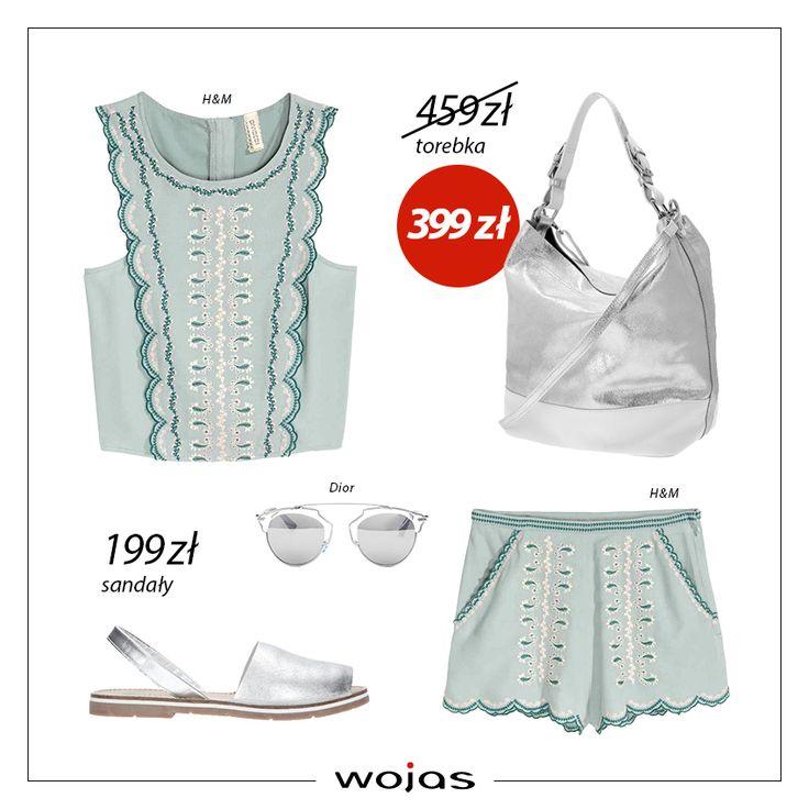 Krótkie szorty oraz bluzeczka z krepowanej tkaniny z haftami idealnie sprawdzą się na upalne dni! Srebrne sandałki (https://wojas.pl/produkt/24457/sandaly-damskie-6805-59 ) oraz torebka w tym samym kolorze (https://wojas.pl/produkt/23762/torebka--5869-79 ) to uzupełnienie modnej stylizacji!