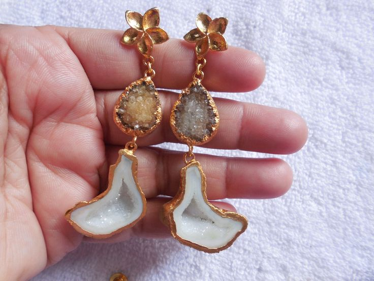 Natural Druzy Earring,24K Gold edge Electroplated Ear dangle,Geode Druzy Gemstone Earring,Druzy cave Earring,ear jewelry,Boho by InternationalByBeads on Etsy