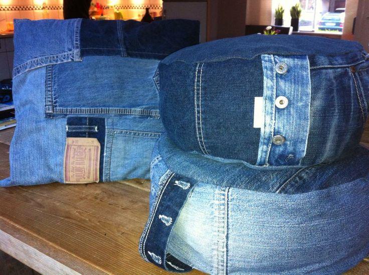 Meditatiekussens van oude spijkerbroeken...