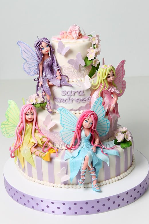 Christening cake with fairies - I think these fairies are amazing!!!!!!