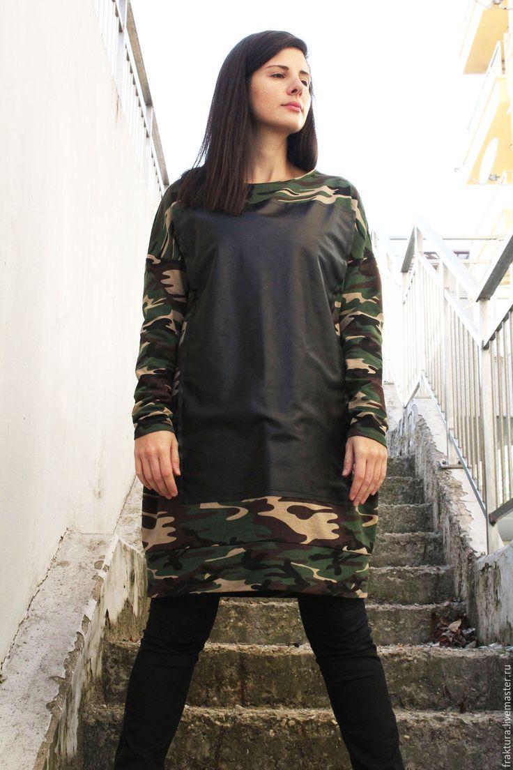 """Купить Платье """"Leather Square"""" B0065 - - толстовка женская, толстовка, кофточка, спортивный стиль"""