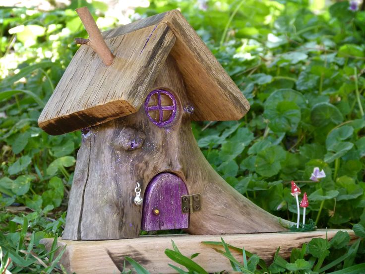 Amazing OOAK Wooden Fairy House With Purple Opening Door, Resin Window And Two Red  Mushrooms