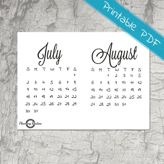 July August Calendar 2017, July 2017, Monthly Planner, August 2017, Printable Stickers, Monthly Calendar