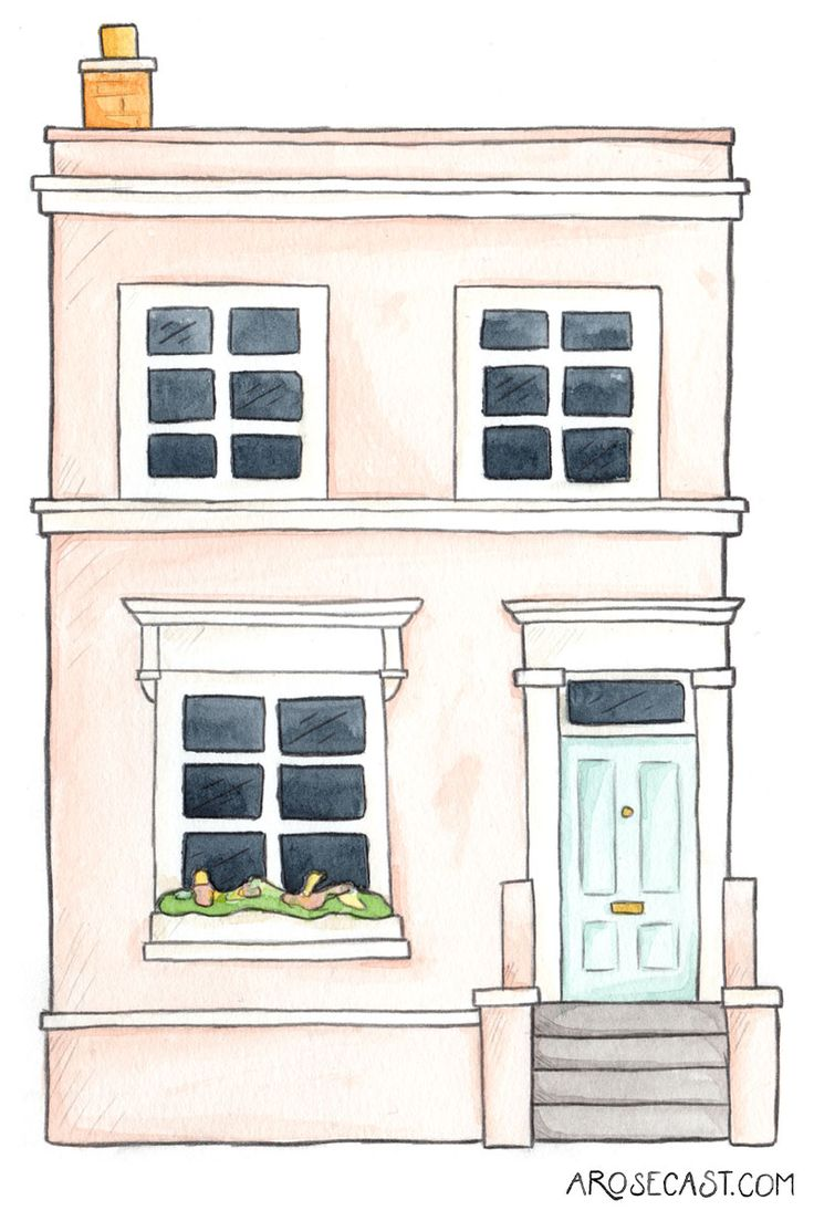 Freebie // The Blogtacular Photowalk & A Notting Hill Pastel House Wallpaper // Watercolour and pencil Illustration by @arosecast  | West London | Pastel