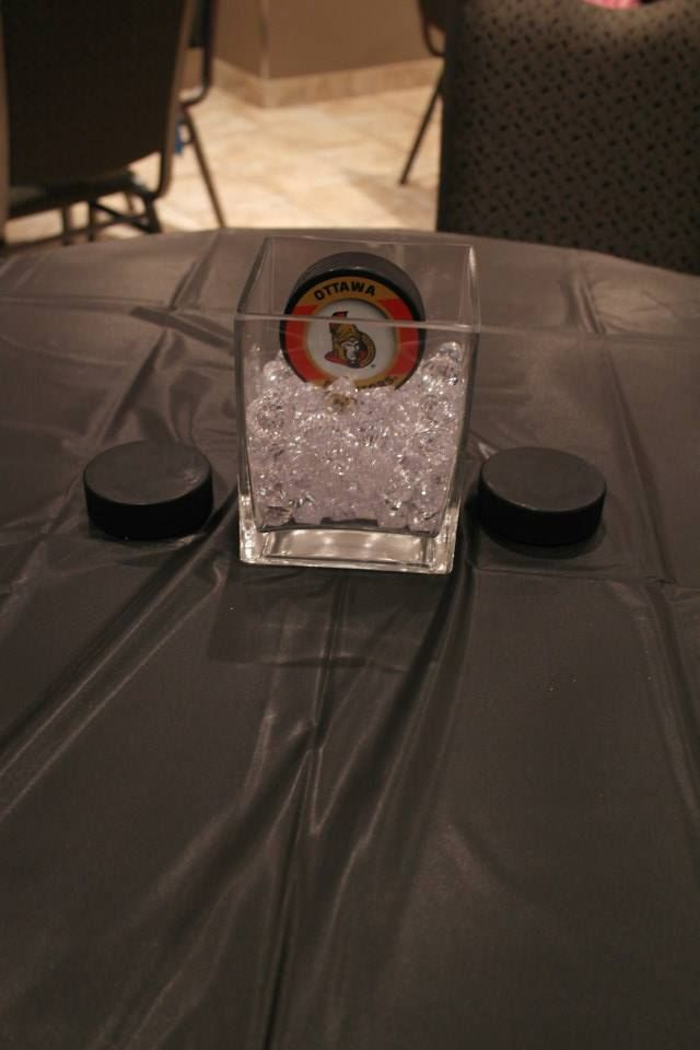 Centerpiece - Puck on Ice! (crystals) Square Vase from Walmart NHL Hockey pucks…