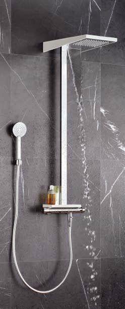 Colonne de douche thermostatique ALPI série SETA. 3 fonctions pour se doucher : pluie, cascade ou douchette monojet.