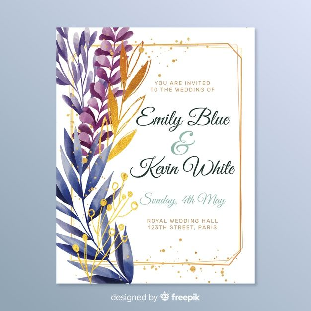 Download Elegant Wedding Invitation With Leaves For Free Wedding Invitations Elegant Wedding Invitations Watercolor Floral Wedding Invitations