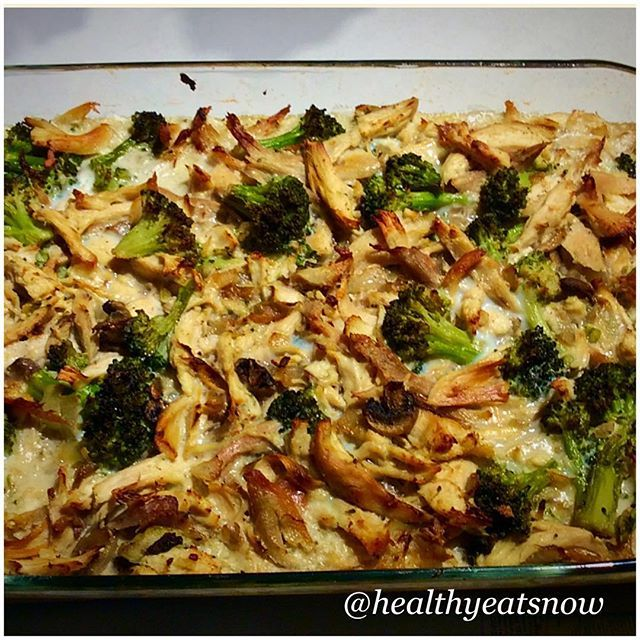 """Paleo Chicken & Broccoli Casserole"" from grassfedgirl.com Sooooooo good! And easy! The main ingredients are just broccoli, onion, mushrooms, cooked chicken, chicken bone broth, coconut milk, and eggs.(Go check out her blog grassfedgirl.com for the full recipe-(under ""recipes"" choose ""chicken"" and it should be the second recipe listed)"