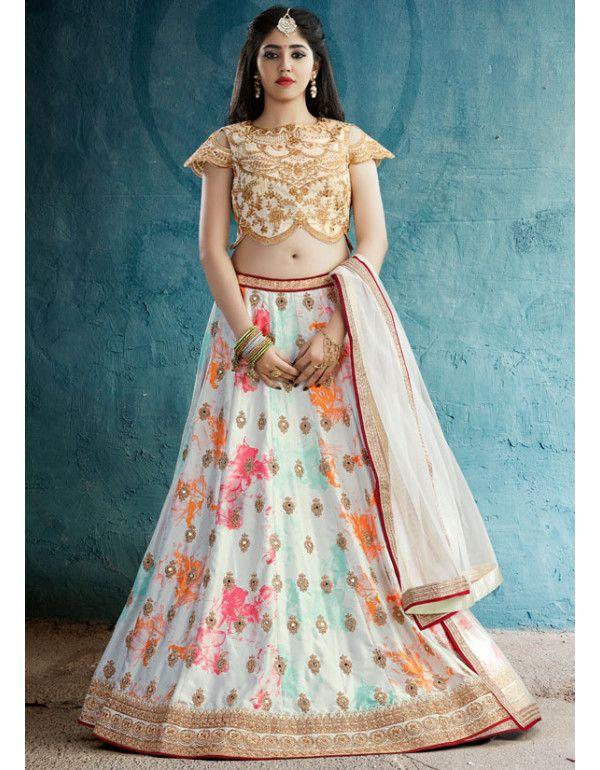 345990e95c Ravishing Pearl White Lehenga Choli | hmmm | Silk lehenga, Bridal ...