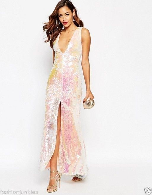 Awesome ASOS RED CARPET Deep Plunge Sequin Maxi Dress UK 6 BRAND NEW RP £95.00 2017-2018 Check more at http://fashion-look.top/product/asos-red-carpet-deep-plunge-sequin-maxi-dress-uk-6-brand-new-rp-95-00-2017-2018/
