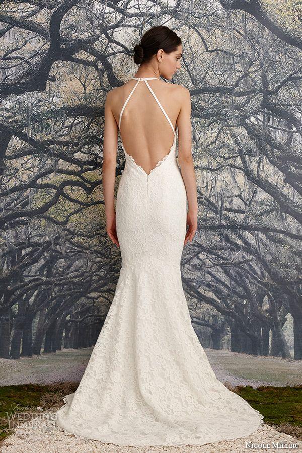 nicole miller spring 2016 bridal halter neck sleeveless fit to flare wedding dress ashley back