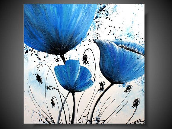 Check out this item in my Etsy shop https://www.etsy.com/listing/249631384/blue-flowers-acrylic-painting-on-canvas #painting #flowers #acrylic #wallart #modern #modernart #artforsale