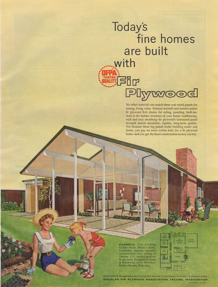 Eichler house 1958 | Floor Plans in 2019 | Midcentury ...