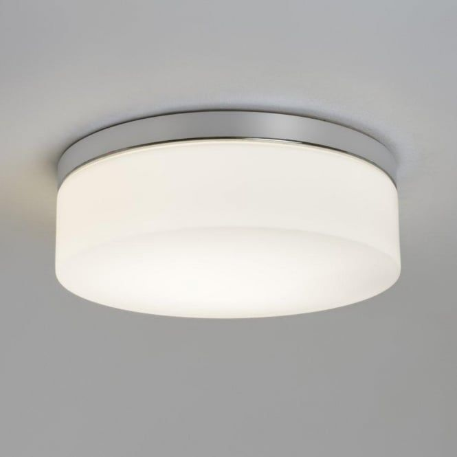 Sabina 280 Single Light Bathroom Ceiling Fitting In Polished Chrome Finish With White Glass Shade