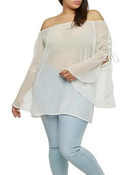 c139bc075015ef Plus Size Sheer Off the Shoulder Top - 1803051060798 | Clothes ...