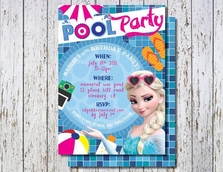 Frozen Pool Party invitation, Elsa Pool Party Invite, Beach Ball invite, Pool Party Invite, Kids Pool Party invite, Printable pool party by TheWrightInvite on Etsy