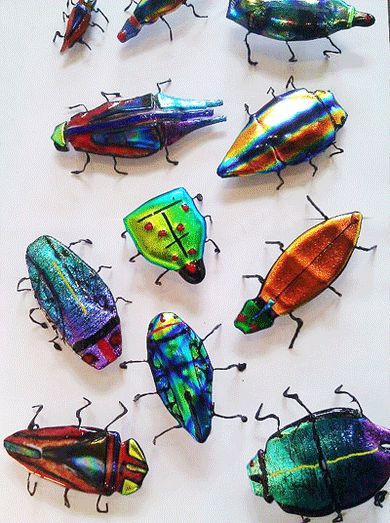 Fused Glass Bugs...again, something that would be wild scattered about the house…