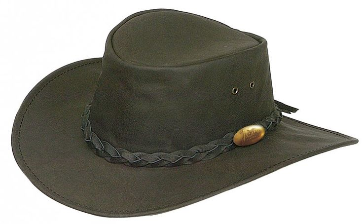 1069 Buffalo Black.  Buffalo Leather Hat by Jacaru: Soft & Lightweight, Plaited Leather Hatband, Brass Jacaru Badge.