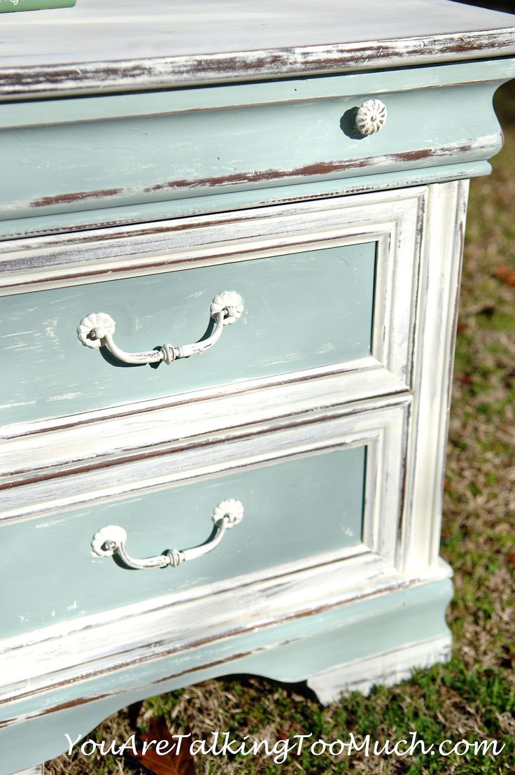 Shabby end table - You Are Talking Too Much; using CeCe's Simply White paint and Smokey Mountain paint over it; then sanding.....