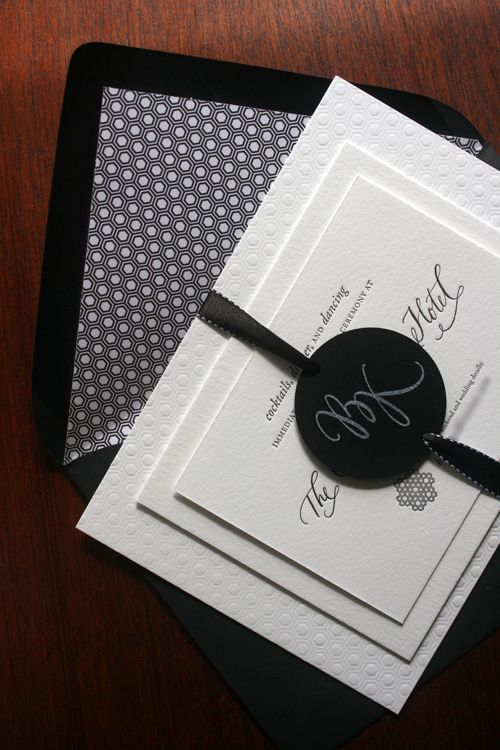 These invitations from Kristina at Lovely Morning are just beautiful – the ribbon, the honeycomb pattern, the blind impression, the calligraphy, it all just works so well together…