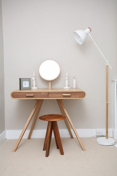 Gemma's Fonteyn Dressing Table and stool in oak and walnut, and Cohen floor lamp in white and Natural Oak for a simple scandi look. | MADE.COM/Unboxed