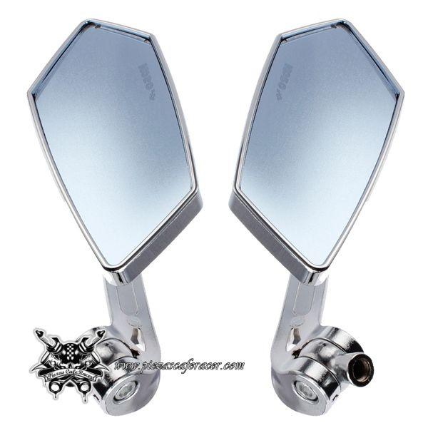 19,58€ - ENVÍO GRATIS - Juego de Espejos Retrovisores Universales para Moto Cromados Universales para Honda Yamaha Suzuki