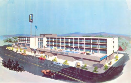 Rendering of the Jack London Inn on Embarcadero and Broadway, Oakland. Opened in 1963.