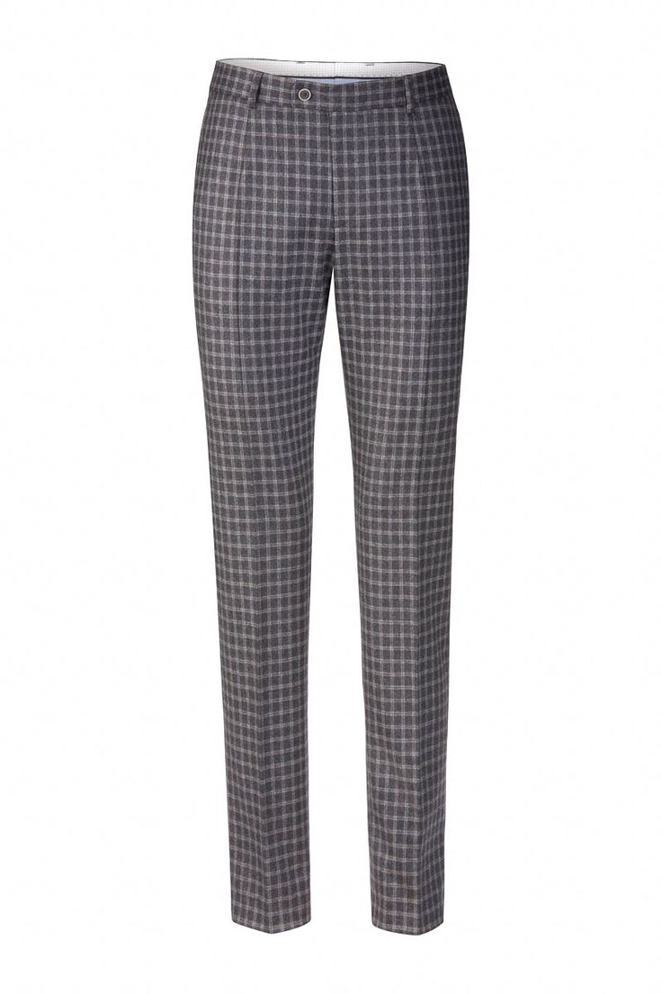 BeneventoCLTH.com Men's trousers Wool Flannel in Grey Check Pattern available in Slim or Regular Fit, over 50 sizes, made to measure