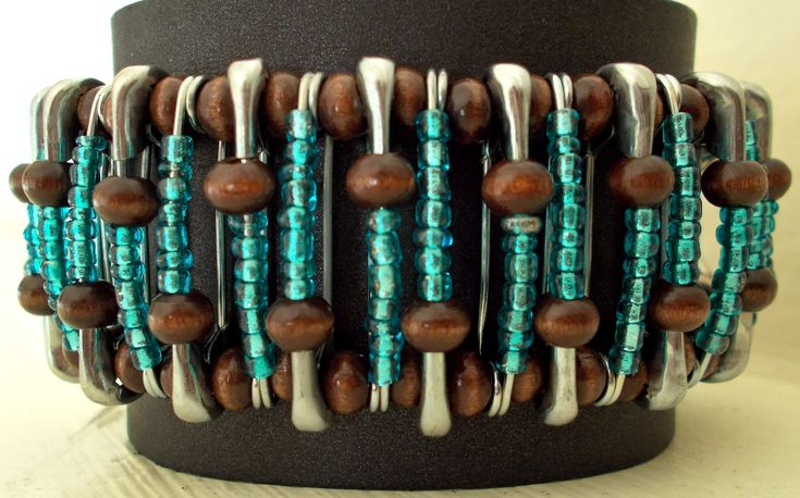 Turquoise & Brown Silver Safety Pin Bracelet