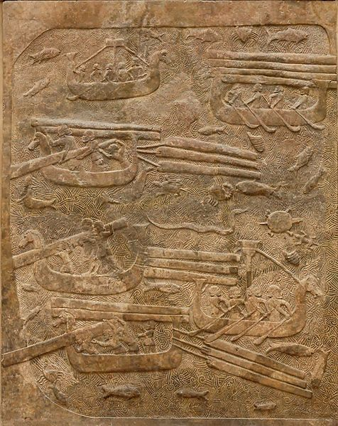 Transport of Lebanese cedar. Low-relief from the North wall of the main court, palace of Sargon II at Dur Sharrukin in Assyria (now Khorsabad in Iraq), ca. 713–716 BC.