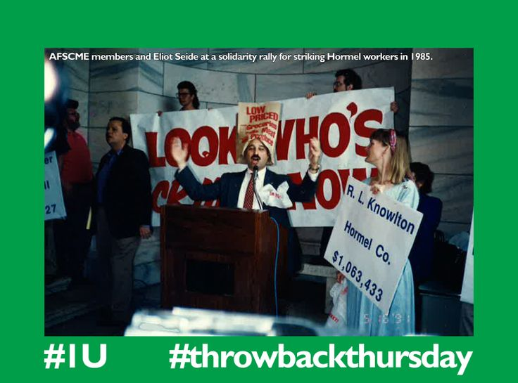 Minnesota @afscme members rally in solidarity with striking workers from Hormel Foods, 1985.