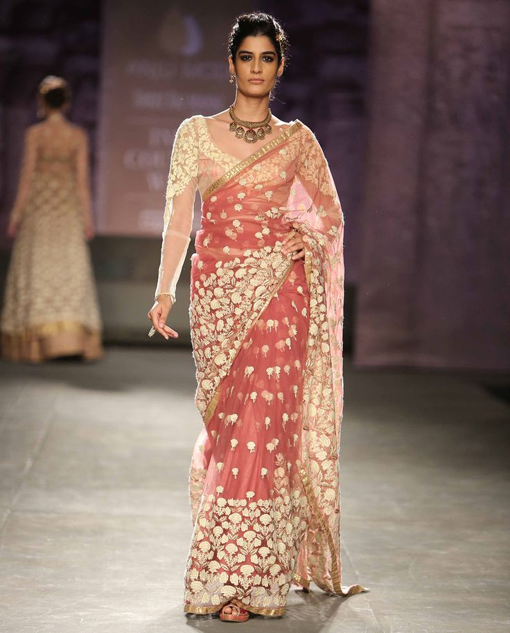 Dark Old Rose Saree with Embroidered Motifs