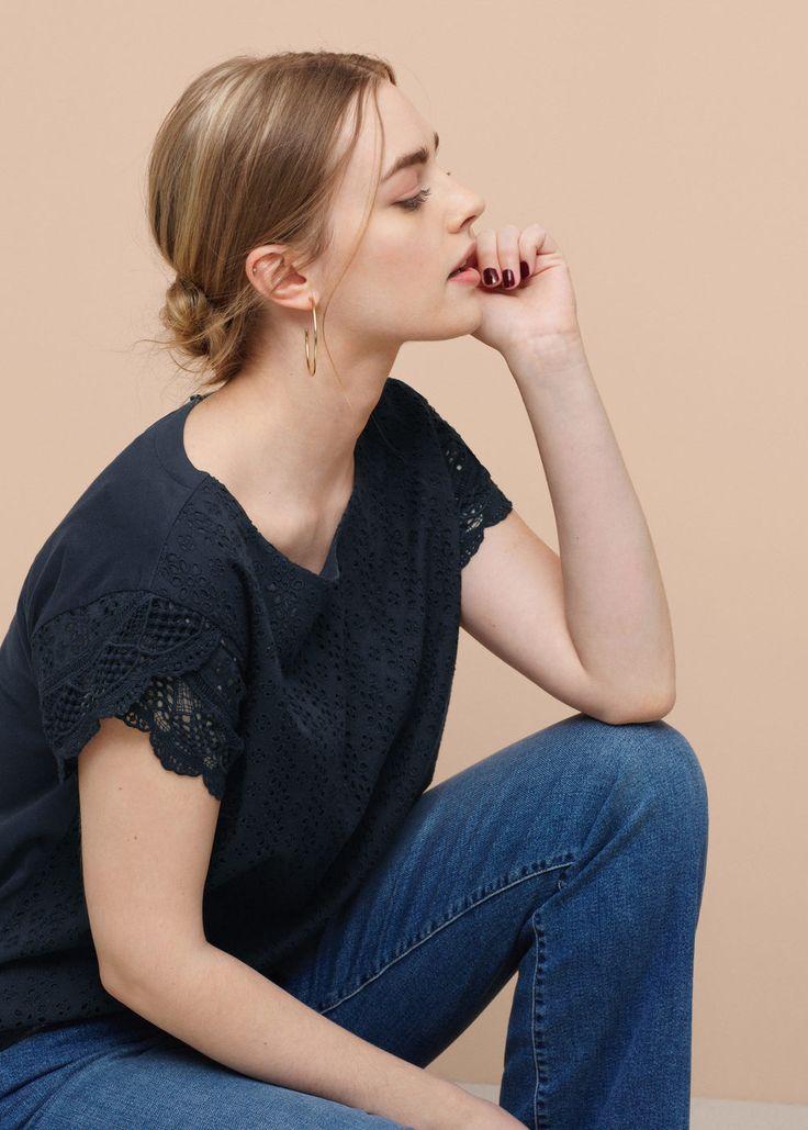 Μπλουζάκι βελονάκι βαμβακερό | VIOLETA BY MANGO ΒΙΟΛΈΤΑ ΑΠΌ ΜΑΝΓΚΟ