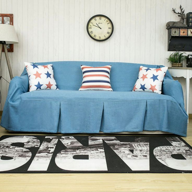 White Leather Sofa One piece BLUE Sofa Cover Designed exclusively for KARUILU home http