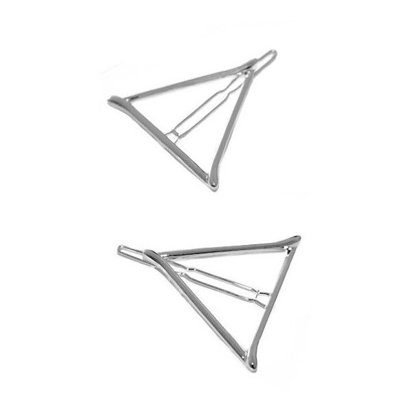 Silver Triangle Hair Clip ($9.90) ❤ liked on Polyvore featuring accessories, hair accessories, barrette hair clip, silver hair accessories, silver hair clips and hair clip accessories