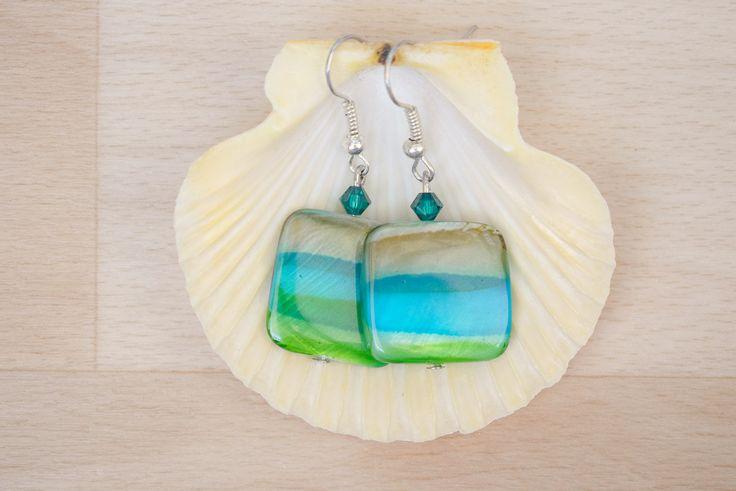 Square Seashell Earrings - Ombre Earrings - Sea Shell Jewelry - Brown-Teal-Green Earrings - Natural Jewelry - Dangle Earrings by SkadiJewelry on Etsy