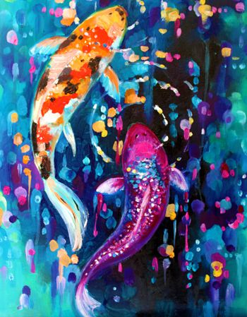 Koi fish painting. Love the color