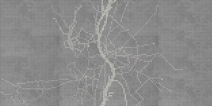 MUKIdeluxe // concrete pavement system workings as digital screen, which can show pixel based graphics, pictures and animations // lighting pavement system by S'39 Hybrid Design Manufacture
