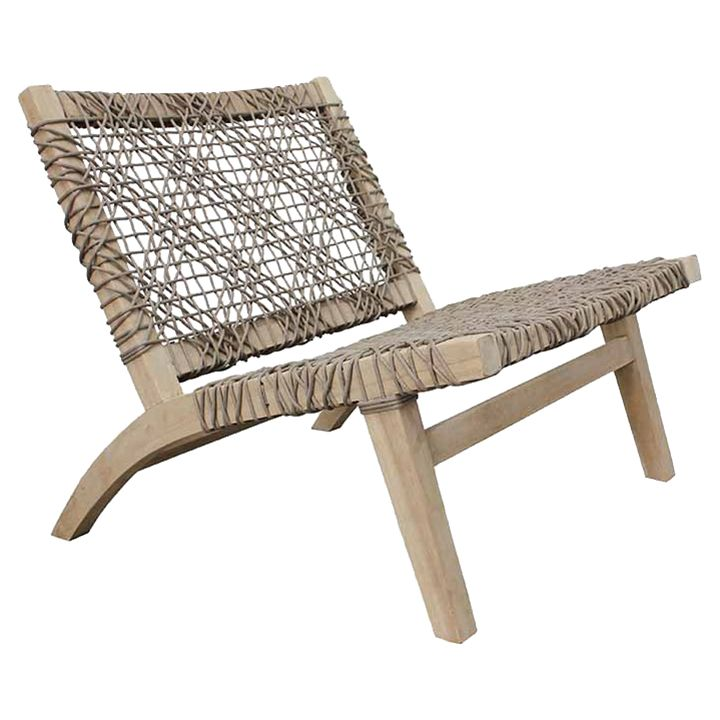 Helen Modern Classic Grey Woven Rope Teak Wood Outdoor Armless Lounge Chair In 2020 Armless Lounge Chair Teak Outdoor Furniture Lounge Chair Outdoor