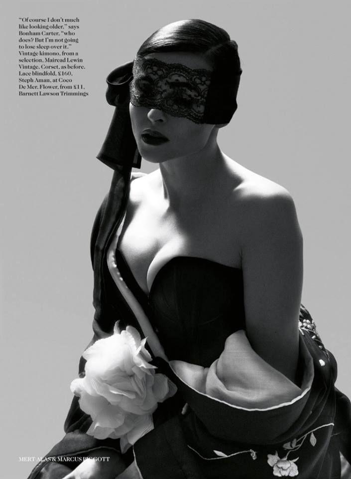 Helena Bonham Carter by Mert Alas Marcus Piggott for Vogue UK July 2013, wearing the Damson Corset