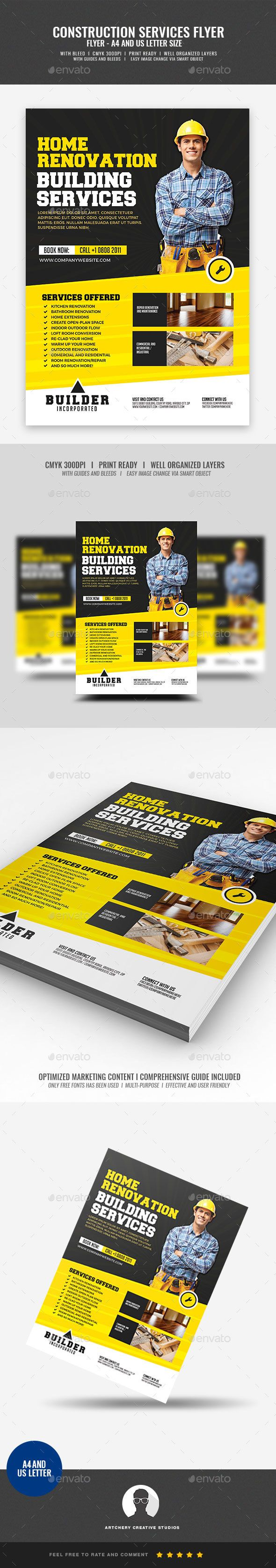 #Construction Services - #Corporate #Flyers Download here:   https://graphicriver.net/item/construction-services/20450649?ref=alena994