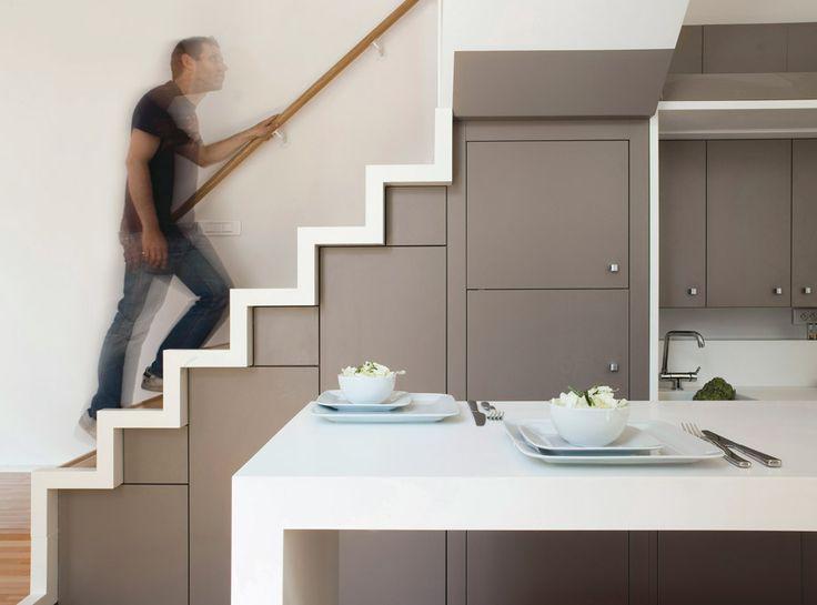 Sous les escaliers, Espace sous les escaliers and Étagères sous