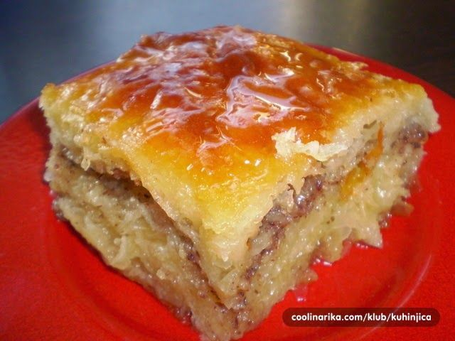 Bosanska Baklava - this looks the way I like it: lighter on the nuts, and very syrupy.  Yum.
