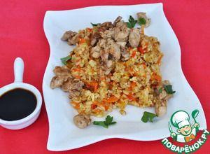 Хибачи (жареный рис ) с молоками в соевом соусе