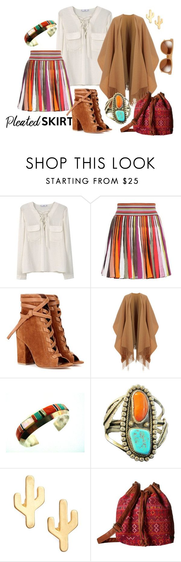 """Pleated Skirt in Arizona"" by lifestyle-alisa ❤ liked on Polyvore featuring MANGO, Missoni, Gianvito Rossi, Acne Studios, CAM, Billabong, Zeal Optics and pleatedskirts"