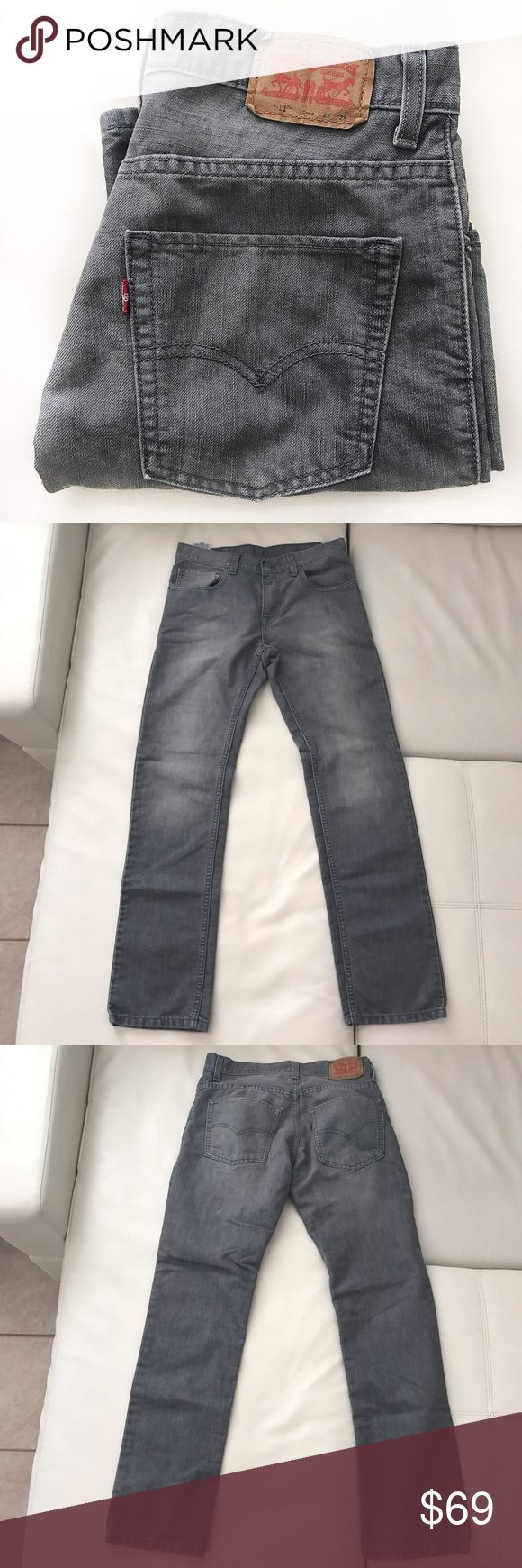 "LEVI'S 511 jeans gray straight cut size 28 Gray jeans is a classic staple in a minimalist wardrobe. Great for spring and fall.  👖Waist 28"" 👖Rise 9"" 👖Inseam 29.5"" Levi's Jeans Straight Leg"