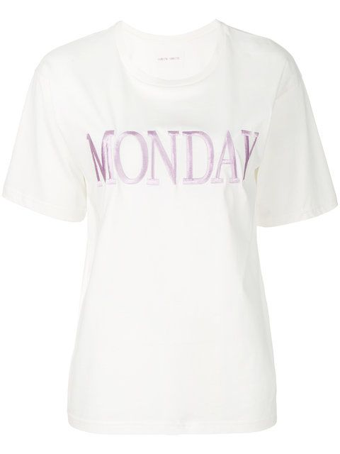 Monday embroidered White T-shirt | Alberta Ferretti