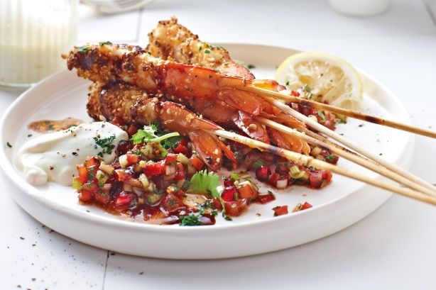 Surprise your dinner guests with this Middle Eastern sensation of dukkah prawns and spoon salad.