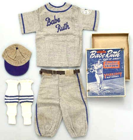 """This is a vintage 1930s YankiBoy Play Clothes """"Official Babe Ruth King of Swat Baseball Uniform"""" complete in its original box. Includes a gray and blue baseball jersey,"""