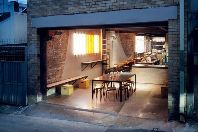 The five-metre wide building opens onto a laneway. Reuben Hills cafe by Herbert & Mason